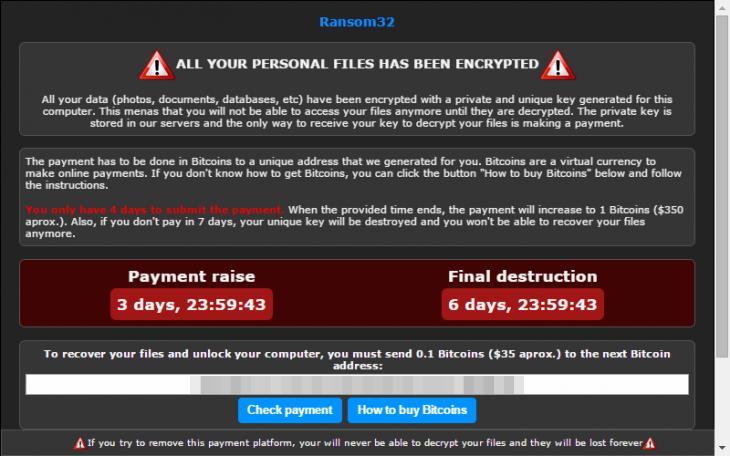 Ransom32 Ransomware: Erpresserbildschirm